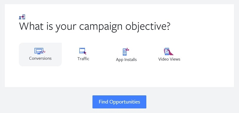 Best Facebook ad tools — campaign objective in Cross Border Insights Finder