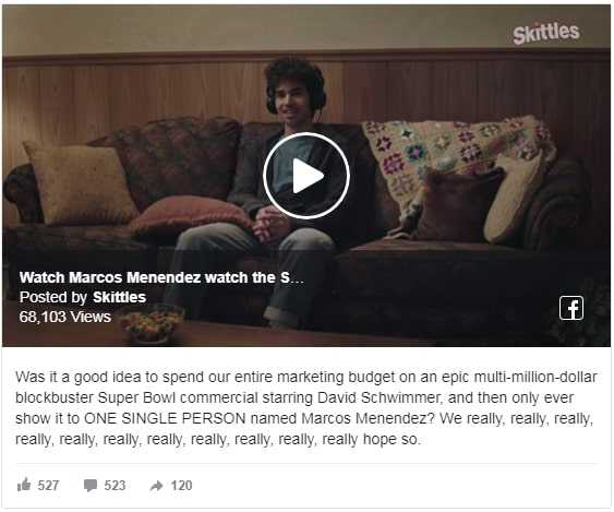 Best Facebook video ad examples — Skittles Marcos