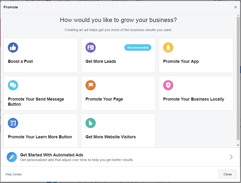 How to create a Facebook Business Page — ad objectives