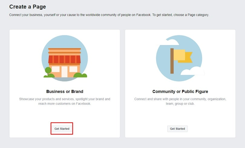 How to create a Facebook Business Page — step one