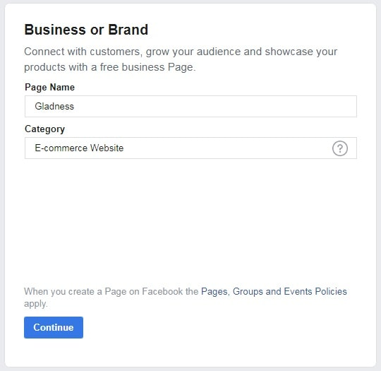 How to create a Facebook Business Page — step two