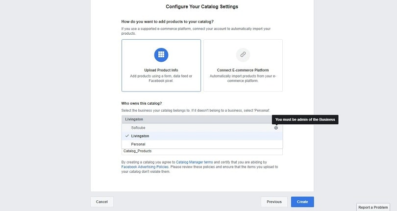 Dynamic product ads on Facebook - catalog settings