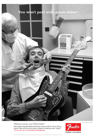 Emotional appeal advertising — Fender with a dentist