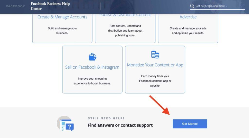 Facebook ad account disabled — get started button