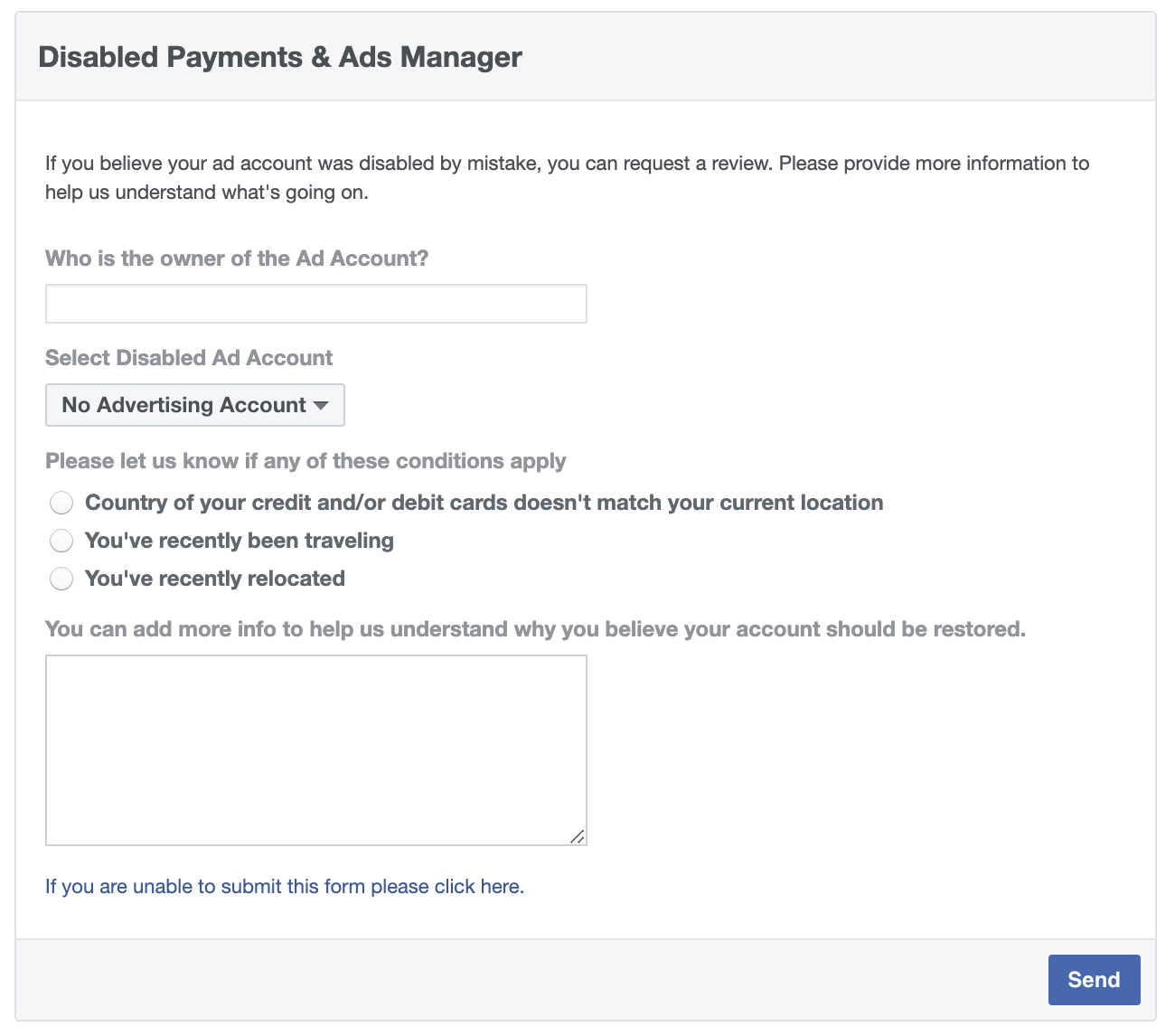 Facebook ad account disabled — payments form