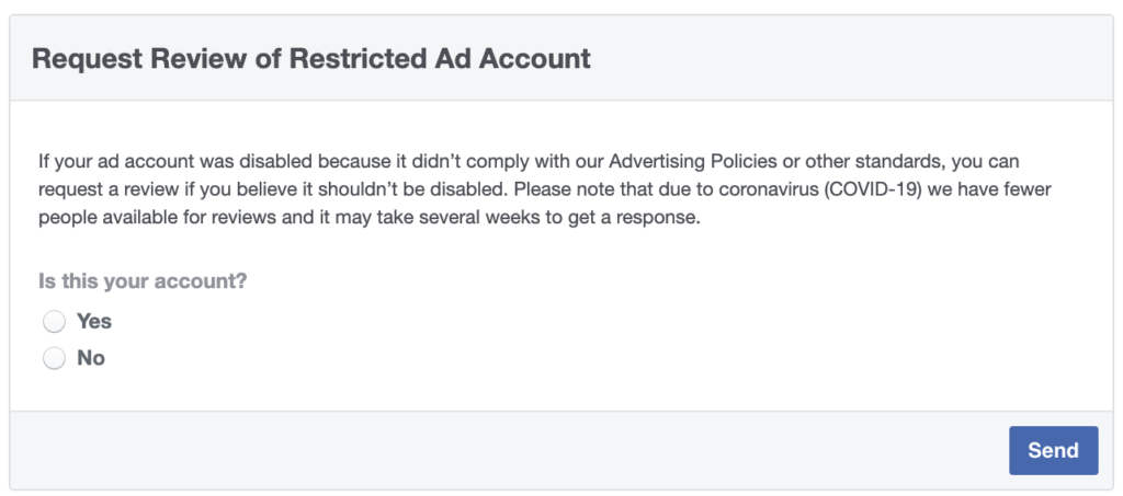 Facebook ad account disabled — request review form