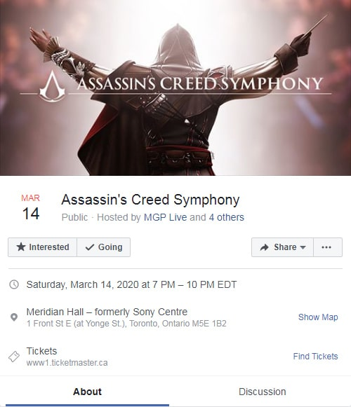 Facebook ad formats — Assassin's Creed Event Response