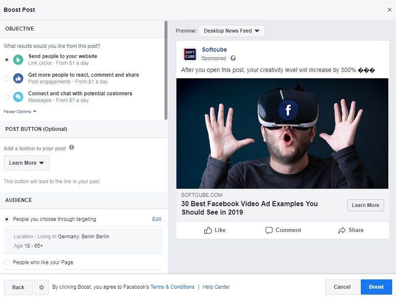 Facebook ad formats — Post Engagement ad