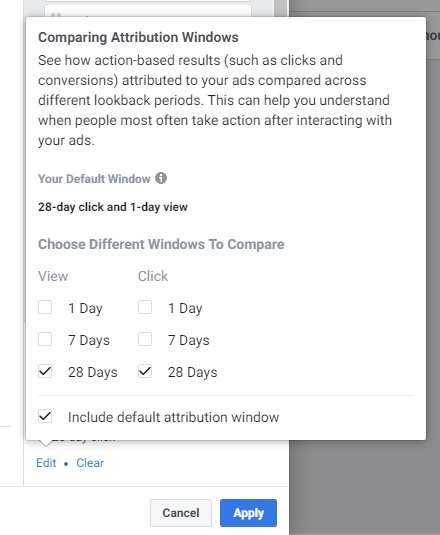 Facebook ad metrics — attribution window set up