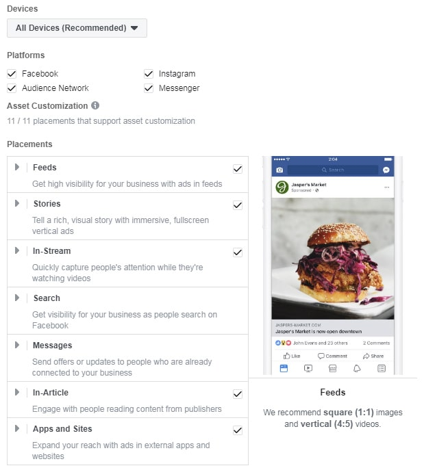 Facebook ad placements — menu in Ads Manager