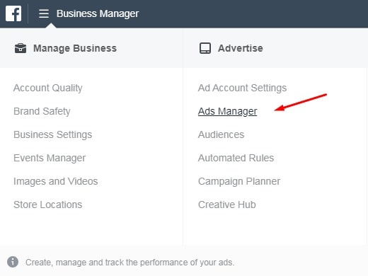 Facebook ads manager — panel