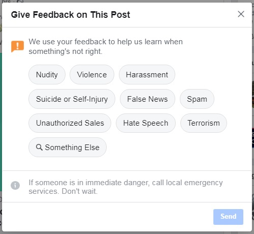 Facebook ads relevance score — Post feedback