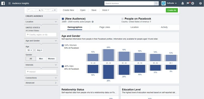 Facebook advertising cost - Audience Insights