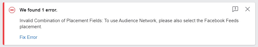 Facebook Audience Network — placements error