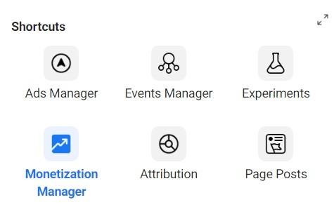 Facebook Audience Network — Monetization Manager shortcut