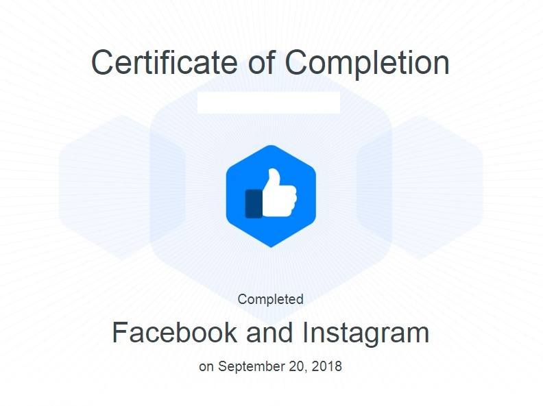 facebook blueprint certification - certificate of completion