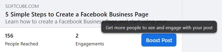 Facebook boost post — button