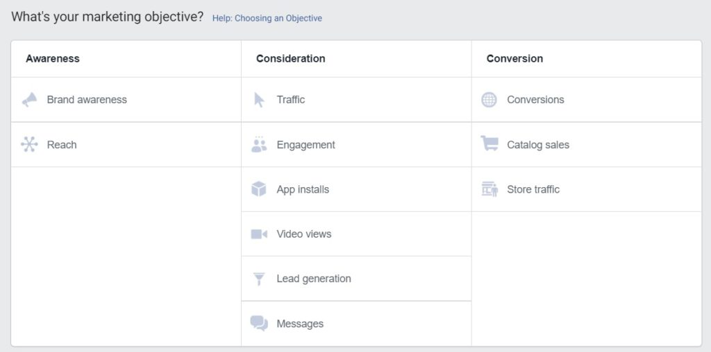 Facebook boost post — objectives in Ads Manager