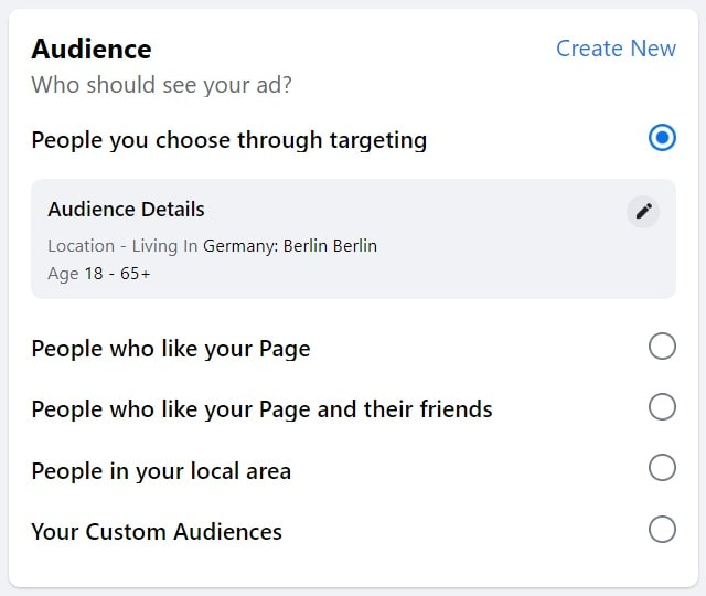 Facebook boost post — audience