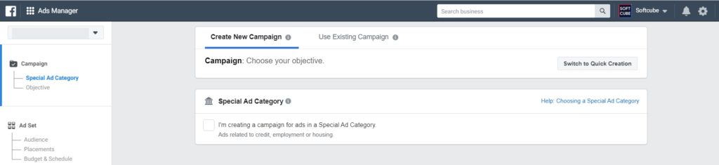 Facebook special ad category in Ads Manager