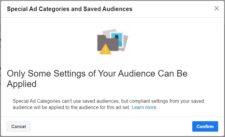 Facebook special ad category — saved audiences