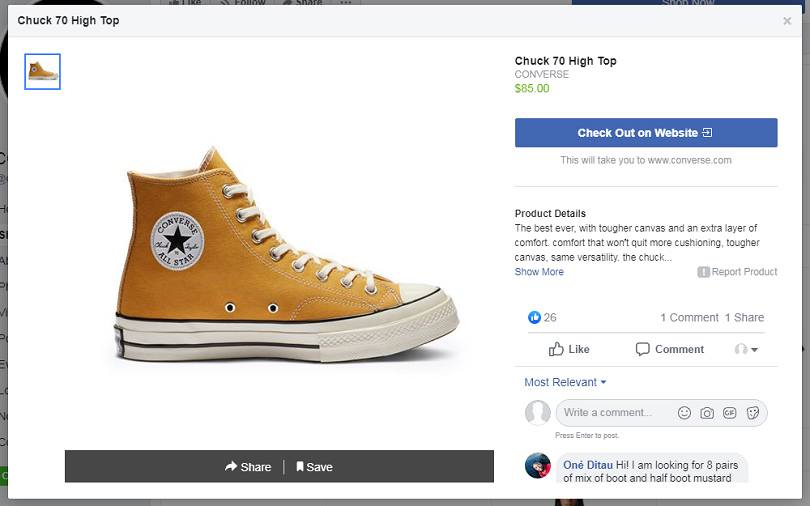 How to advertise on Facebook for free — shop item