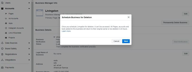 How to use Facebook Business Manager - deletion