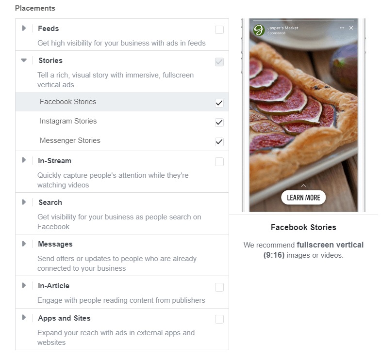 Facebook Story ads — the list of placements