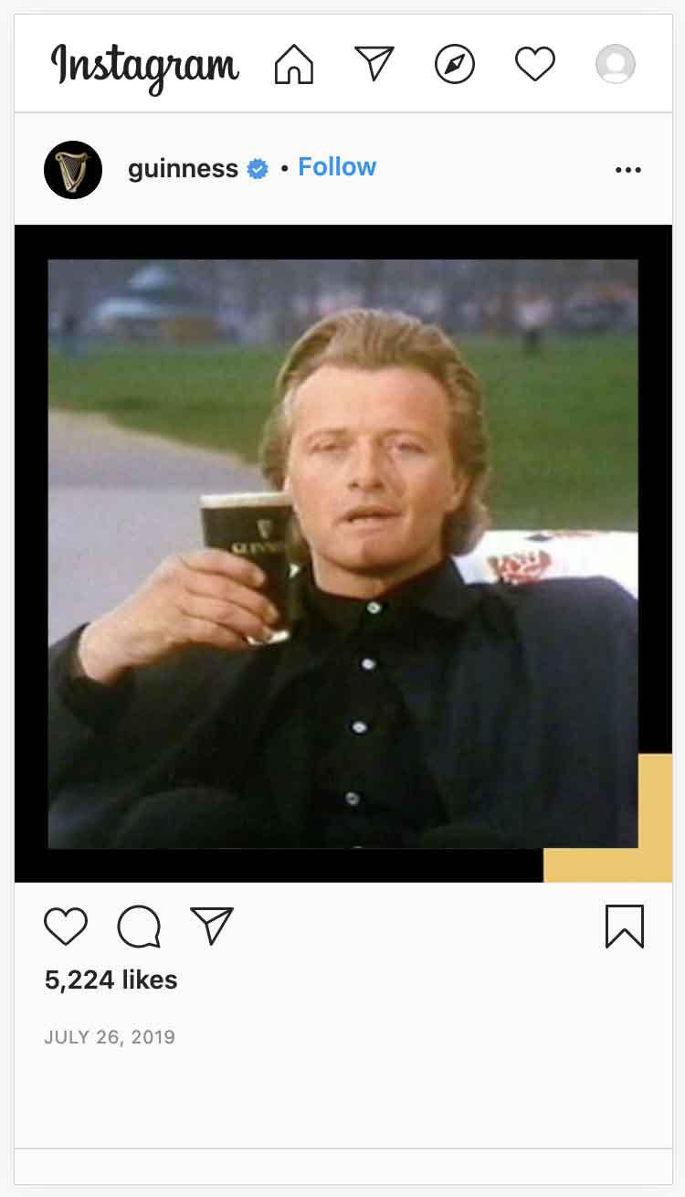 Instagram ads examples — Guinness