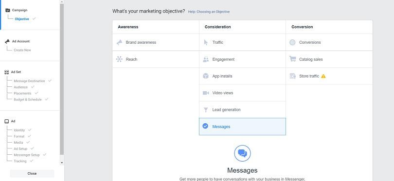 Messenger ads — Messages objective in Ads Manager