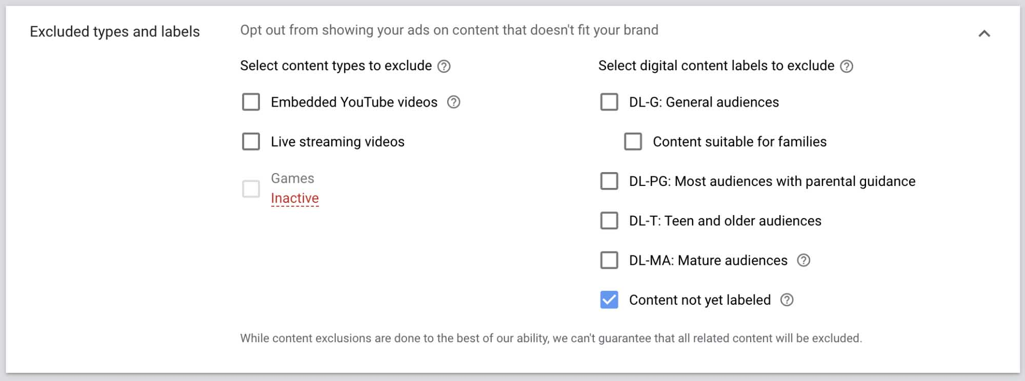 YouTube video — excluded types and labels