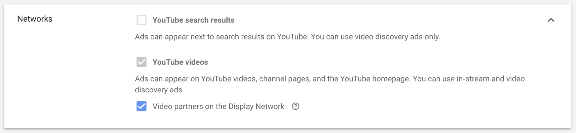 YouTube video ads — Networks checkbox for non-skippable ads