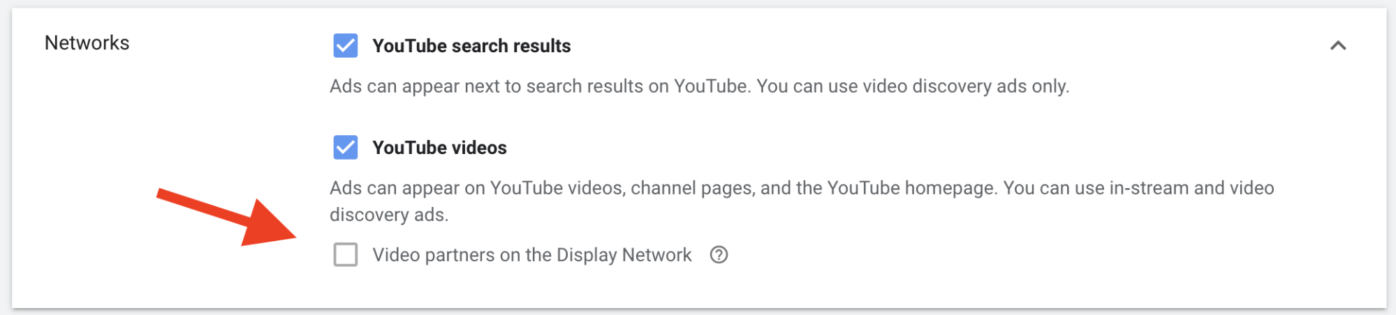 YouTube video ads — Networks checkbox