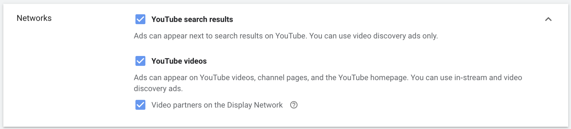 YouTube video ads — Networks